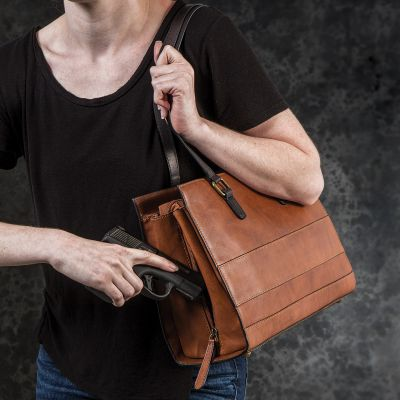 NRA 3-Way CCW Leather Tote