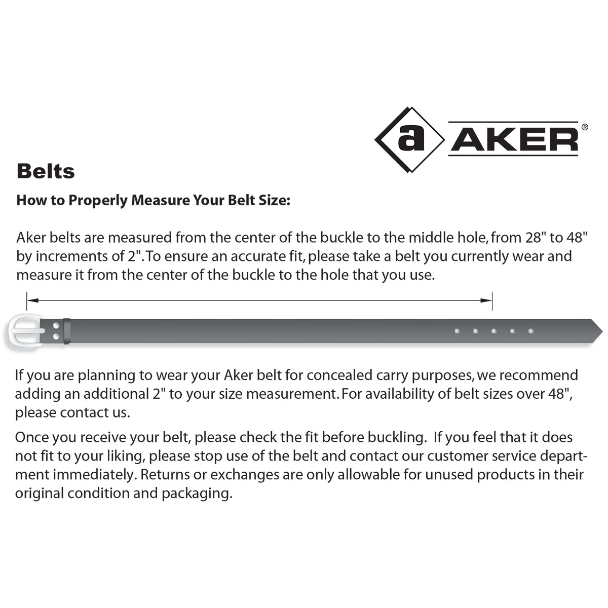 Aker Belt Fit Chart